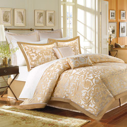 Madison Park - Madison Park Signature Carmichael 8-piece Charmeuse Comforter Set - The gold geometric inspired pattern of the Carmichael comforter creates a luxurious sophisticated feel to your bedroom. The slight sheen of the gold border adds an extra glamorous touch to the look.