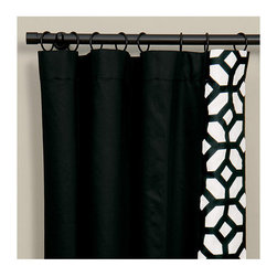 """Frontgate - Witcoff Black Curtain Panel - Left, 108"""" x 48"""" - From Eastern Accents Niche collection. Because this product is specially made to order, please allow 4-6 weeks for delivery. Dry clean only recommended. Make a statement with the crisp black and white of our Palmer Bedding Collection. With a modern yet versatile style, this collection brings a burst of pattern to the simple white bedding with its thick black border.  . .  . Made in USA of imported goods. Coordinates with the Palmer Bedding Collection."""
