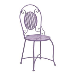 "IMAX - Yates Purple Iron Bistro Chair - Imagine indulging in a warm cup of coffee at the corner sidewalk cafe or a nice afternoon at the bakery for a sweet treat! This bistro chair adds color and personality to any location with its iron design. Item Dimensions: (37""h x 16""w x 17.75"")"