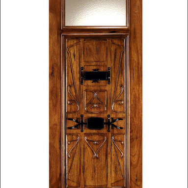 Art Nouveau Entry Doors Model # AN-2003 - Art Nouveau is an art, style, and architecture recognized around the globe.  This door and collection will set you apart from the rest while giving your home a very unique look.  These doors have fine carvings, iron work and most have a operable glass panel to facilitated the cleaning of the iron panel.  Look at the entire collection to find the right fit!