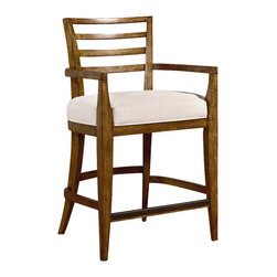 American Drew - American Drew Grove Point Ladder Back Counter Stool in Soft Khaki, Set of 2 - Ladder Back Counter Stool in Soft Khaki belongs to Grove Point Collection by American Drew Soft Khaki, Primavera Veneer, Hardwood Solids, Sand Colored Raffia and Linen Fabric, Chocolate Brown Accent Finish Counter Chair (2)