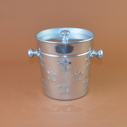 Fleur de Lis Aluminum Ice Bucket with Lid - Fleur de Lis Ice Bucket with lid is a Part of the Fleur de Lis design Collection. Insulated inside and with accompanying lid to keep cool and Stainless Steel and hand polished.