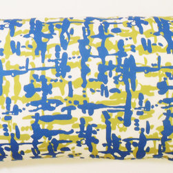 """kee design studio - Graphiti Woven Graphic Lumbar Pillow, Peacock - """"Graphiti Woven"""" an original pattern by Kee Design Studio, is a graphic interpretation of a slubby woven texture. It is printed on a lovely cotton/linen blend fabric, has a knife-edge finish and an invisible zipper. It features a full and fluffy 10/90 white goose down insert."""