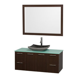 Wyndham Collection - 48 in. Wall Mounted Vanity with Mirror - Includes drain assemblies and P-traps for easy assembly. Faucet not included. Modern clean lines. Eight stage preparation. Veneering and finishing process. Highly water resistant low V.O.C. sealed finish. Unique and striking contemporary design. Deep doweled drawers. Fully extending soft close drawer slides. Soft close door hinges. Single hole faucet mount. Two functional doors. Four functional drawers. Plenty of storage space. Green glass top. Black granite sink. Engineered for durability and to prevent warping and last for lifetime. 0.75 in. thickness mirror. Made from highest quality grade E1 MDF. Metal exterior hardware with brushed chrome finish. Espresso finish. Minimal assembly required. Mirror: 46 in. W x 33 in. H. Vanity: 48 in. W x 21.75 in. D x 20.25 in. H. Care Instructions. Assembly Instructions - Sink. Assembly Instructions - MirrorTruly elegant design aesthetic meet affordability in the Wyndham Collection Amare Vanity. The attention to detail on this elegant contemporary vanity is unrivalled.
