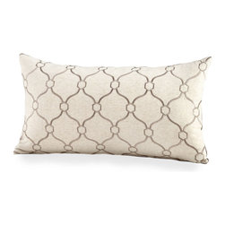 Linked Love Pillow - Distinctive geometries in a variation of the timelessly on-trend lattice pattern, so exquisitely used by today's designers, adorn the surface of the Linked Love Pillow. An accent for a chair or daybed that looks perfectly poised in your decor, it offers an elongated form and fine embroidery as pared-down takes on classic modes of textile adornment.