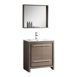 Fresca - Fresca FVN8130GO Allier 30 Inches Gray Oak Modern Bathroom Vanity With Mirror - Fresca FVN8130GO Allier 30 Inches Gray Oak Modern Bathroom Vanity With Mirror