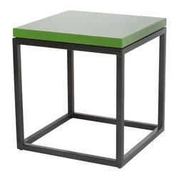 Hue Collection - Celtic Green Porcelain Enamel Side Table with Gun Metal Steel Base - Celtic Green porcelain enamel topped table, with gun metal scale steel base.