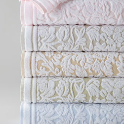 "Horchow - Chantelle Hand Towel - We love the way the sculpted leafy vine pattern in white stands out against the pastel backgrounds of these cotton velour jacquard towels. Made of semi-sheared, 550-gram cotton velour. Machine wash. Select color when ordering. Bath towel, 30"" x 56"". Hand towel, 18"" x 28"". Face cloth, 13""Sq."