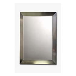 None - Stainless Steel Framed Beveled Mirror - Color: Stainless steel Materials: Wood, stainless steel, glass Image dimensions: 42 inches high x 30 inches wide