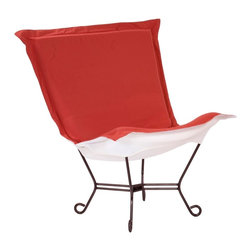 """Howard Elliott - Contemporary Howard Elliott Mahogany Scroll Punch Outdoor Puff Chair - Plush cushioned outdoor accent chair. Weather-resistant Starboard Punch red 100-percent solution-dyed acrylic upholstery. Mahogany finish steel frame with scroll feet. White acrylic cushion bottom. Specially-designed soft foam insert withstands the elements. Removable washable cover for easy cleaning or updating. Use indoors or outdoors. Pair with the mahogany frame Scroll Puff Ottoman (sold separately) for a great look. Simple assembly required. Some minor assembly required. 40"""" wide. 37"""" deep. 40"""" high.   Plush cushioned outdoor accent chair.  Weather-resistant Starboard Punch red 100-percent solution-dyed acrylic upholstery.  Mahogany finish steel frame with scroll feet.  White acrylic cushion bottom.  Specially-designed soft foam insert withstands the elements.  Removable washable cover for easy cleaning or updating.  Use indoors or outdoors.  Pair with the mahogany frame Scroll Puff Ottoman (sold separately) for a great look.  Simple assembly required.  Some minor assembly required.  40"""" wide.  37"""" deep.  40"""" high."""