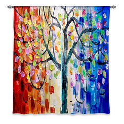 "DiaNoche Designs - Window Curtains Unlined - Lam Fuk Tim Surreal Blossom Tree - Purchasing window curtains just got easier and better! Create a designer look to any of your living spaces with our decorative and unique ""Unlined Window Curtains."" Perfect for the living room, dining room or bedroom, these artistic curtains are an easy and inexpensive way to add color and style when decorating your home.  This is a woven poly material that filters outside light and creates a privacy barrier.  Each package includes two easy-to-hang, 3 inch diameter pole-pocket curtain panels.  The width listed is the total measurement of the two panels.  Curtain rod sold separately. Easy care, machine wash cold, tumbles dry low, iron low if needed.  Made in USA and Imported."