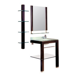 Decolav - Decolav Stained Wood Lavatory - Includes matching mirror with shelf, 4-tier accessory shelf