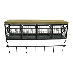 Metal & Wood Shelf with Baskets & 7-Hooks - This traditional yet on-trend metal and wood shelf adds some much-needed storage in a mudroom, kitchen or entryway.