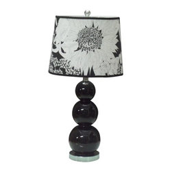 Glass Bottle Black Table Lamp With Chinese Painting Linen Shade - Glass Bottle Black Table Lamp With Chinese Painting Linen Shade