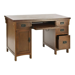 "Holly & Martin - Holly & Martin Landon Computer Desk in Brown - * Made of solid wood / MDF w/ veneer / mahogany finish. Brown mahogany finish. Slide out keyboard drawer. Left side cabinet to hold computer tower. Black metal ""knocker"" handles. Some assembly required. 47 3/4 in. W x  23 3/4 in. D x 30 1/4 in. HFinished in brown mahogany and constructed with traditional mission styling, this desk is sure to enhance any room. Multiple drawers combine with a large cabinet to make this desk the perfect solution for cleaning up your cluttered work area. The right side features three drawers that get progressively larger from the top down ending with a deep drawer with storage for larger items. On the left a small storage drawer, perfect for pens and accessories, sits directly above the cabinet that is perfect for holding your computer tower or other large items. Lastly, the keystone of this desk is the slide out keyboard drawer with fold down face over the seating area that provides easy typing access or additional storage. Crafted with solid Asian hardwood legs and durable birch veneer ensures many years of use and beauty.."