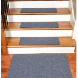 "Dean Flooring Company - Dean Serged DIY Carpet Stair Treads 27"" x 9"" - Steel Gray - Set of 13 Plus a Mat - Dean Serged DIY Carpet Stair Treads 27"" x 9"" - Steel Gray - Set of 13 Plus a Matching 2' x 3' Landing Mat : Quality, Stylish Carpet Stair Treads by Dean Flooring Company Extend the life of your high traffic hardwood stairs. Reduce slips/increase traction (your treads must be attached securely to your stairs). Cut down on track-in dirt. Great for pets and pet owners. Helps your dog easily navigate your slippery staircase. 100% Polypropylene. Set includes 13 carpet stair treads plus a matching 2' x 3' landing mat and one roll of double-sided carpet tape for easy, do-it-yourself installation. Each tread is serged around the edges with beautiful color matching yarn. Rounded corners. No bulky fastening strips. You may remove your treads for cleaning and re-attach them when you are done. Add a touch of warmth and style and a fresh new look to your stairs today with new carpet stair treads from Dean Flooring Company! This product is designed, manufactured, and sold exclusively by Dean Flooring Company."