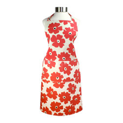 MU Kitchen MUincotton Apron Red Poppy - Show off your style with the new MU Kitchen MUincotton Red Poppy print apron.  This 100% cotton apron features 2 large chef's pockets on the front and an adjustable ring for easy adjustment.  Comfort and style together in one beautiful package.Product Features                      100% cotton          Durable herringbone weave          2 large chef pockets             Adjustable ring at neck for easy size adjustment          Extra long ties for comfort