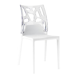PAPATYA - PAPATYA EGO ROCK CHAIR, Set of 2, White Seat W/ Clear Back - Stackable chair with base in glassfibre reinforced polypropylene and the back in polycarbonate. Combination of the two material and fashionable colours makes it a perfect formula which adapts to every functional and aesthetic need and fit in any environment. Anti UV stabilized. Suitable for indoor and outdoor use. Priced as Set of 2.