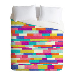 DENY Designs - Jacqueline Maldonado Happy Go Lucky 1 Duvet Cover - Turn your basic, boring down comforter into the super stylish focal point of your bedroom. Our Luxe Duvet is made from a heavy-weight luxurious woven polyester with a 50% cotton/50% polyester cream bottom. It also includes a hidden zipper with interior corner ties to secure your comforter. it's comfy, fade-resistant, and custom printed for each and every customer.