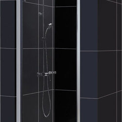 DreamLine - DreamLine SHDR-4128728-01 Elegance 28 3/4 to 30 3/4in Frameless Pivot Shower Doo - The Elegance pivot shower door combines a modern frameless glass design with premium 3/8 in. thick tempered glass for a high end look at an excellent value. The collection is extremely versatile, with options to fit a wide range of width openings from 25-1/4 in. up to 61-3/4 in.; Smart wall profiles make for an easy and adjustable installation for a perfect fit. 28 3/4 - 30 3/4 in. W x 72 in. H ,  3/8 (10 mm) thick clear tempered glass,  Chrome or Brushed Nickel hardware finish,  Frameless glass design,  Width installation adjustability: 28 3/4 - 30 3/4 in.,  Out-of-plumb installation adjustability: Up to 1 in. per side,  Frameless glass pivot shower door design,  Elegant pivot mechanism and anodized aluminum wall profiles,  Door opening: 24 1/4 in.,  Reversible for right or left door opening installation, Aluminum