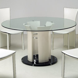 Chintaly Imports - Deborah Round Clear Glass Dining Table - Flair pedestal column round tempered glass dining table. High gloss Beige finish pedestal column and clear glass top. Tempered black glass base with chrome accents. Very elegant style.