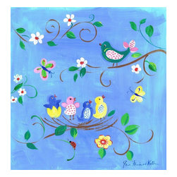 Stupell Industries - Birds in Nest Square Wall Plaque - Made in USA. MDF Fiberboard. Hand finished and packed. Approx. 11 in. W x 15 in. L. 0.5 in. ThickThe Kids Room by Stupell features exceptional handcrafted wall decor for children of all ages.  Using original art designed by in-house artists, all pieces feature hand painted and grooved borders as well as colorful grosgrain ribbon for hanging.  Made in the USA, everything found in The Kids Room by Stupell exudes extraordinary detail with crisp vibrant color. Whether you are looking for one piece to match an existing room's theme, or looking for a series to bring the kid's room to life, you will most definitely find what you are looking for in The Kids Room by Stupell.