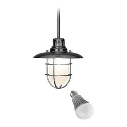 Design Classics Lighting - Nautical Mini-Pendant with LED Bulb - 812-09/8W LED - This nautical style cage pendant includes one 6-inch and three 12-inch stem segments for various hanging lengths. Includes one 9.5-watt LED bulb based on a breakthrough and patented technology to last 6 times longer than compact fluorescent bulbs and 35 times longer than an incandescent. Features a medium base with white diffuser and vented heat sink. Takes (1) 9.5-watt LED A19 bulb(s). Bulb(s) included. Dry location rated.