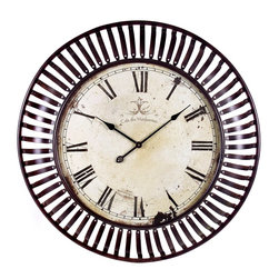iMax - iMax Banded Metal Wall Clock X-8171 - This oversized wall clock with its banded iron framing makes a great statement in any room.