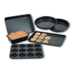 Cook N Home - Cook N Home 6-Piece Heavy Gauge Nonstick Bakeware Set - 6 piece nonstick bakeware set includes: Two 8-inch round cake pans, 10-inch by 15-inch cookie sheet, 9-inch by 13-inch cake /roasting pan, 12 cup muffin pan, and 4.1/2 inch by 8.5-inch by 2 1/2 inch loaf pan.