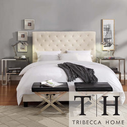 Tribecca Home - TRIBECCA HOME Sophie Beige Fabric Tufted King-size Bed - A combination of straight lines and raised features highlight this modern Sophie beige king-size bed. This upholstered furniture features a tufted headboard.