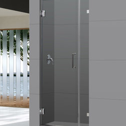 "Dreamline - UnidoorLux 33"" Frameless Hinged Shower Door, Clear 3/8"" Glass Door - The UnidoorLux shower door shines with a sleek completely frameless glass design. Premium thick tempered glass combined with high quality solid brass hardware deliver the look of custom glass at an incredible value."