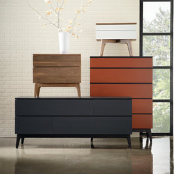 Serra Bedroom - Serra mixes walnut solids with lacquered drawer fronts in fresh, fashion-forward colors. The new designs are aimed at urban customers yearning for quality contemporary design with a North American aesthetic.
