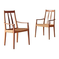 Mogens Koch - Pre-owned Danish Paper Cord Woven Rope Arm Chairs - A Pair - This pair of Danish Mid-Century modern chairs for Mogens Koch would look amazing in an eclectic space if you want to mix and match dining chairs and would be equally stylish in a little breakfast nook for two. They are made in the style of Niels Kofoed, featuring high back arm chairs in solid teak with paper cord seats or woven rope. Beautiful design + quality = perfection!     The right arm on one of the chairs has light water spots and the teak wood of one chair is a slightly lighter color than its mate.