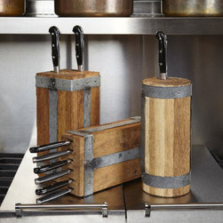 Toscana Industrial Knife Block - Get your knives out of the drawer and give them a stylish and beautiful place to rest in your choice of three shapes. These reclaimed wood knife blocks are finished with galvanized metal and rustic nailheads for a vintage, industrial flavor.