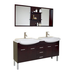 Fresca - Fresca FVN6193ES Vetta Espresso Modern Double Sink Bathroom Vanity With Mirror - Fresca FVN6193ES Vetta Espresso Modern Double Sink Bathroom Vanity With Mirror