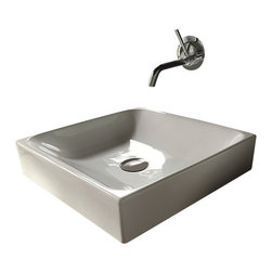 """WS bath Collections - Cento 3544 Ceramic Sink 17.7"""" x 17.7"""" - Cento by WS Bath Collections Bathroom Sink 17.7 x 17.7, Designed by Marc Sadler of Italy, Counter Top Installation, in Ceramic White"""