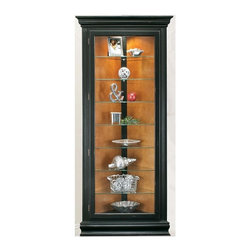 Philip Reinisch - Philip Reinisch Color Time Prism - Corner Curio Display Cabinet in Hardwood & Gl - From the Philip Reinisch Color Time collection, the Prism corner curio cabinet is definitely a popular favorite.  The classic styling with gently curved moldings and fluted pilasters is perfectly complemented by the distressed pirate black finish.  Hand-rubbed and polished to a soft luster, the quality-made cabinet is handsomely crafted with a solid hardwood frame.  Customize the cabinet by choosing the matching bead-board back panel or the smart chestnut finish side.   This stylish Curio Display Cabinet will make a bold and beautiful statement in any room in your home, perfectly showcasing your most valued possessions. Eight shelf cabinet. Seven adjustable shelves. Lighted (U.L. & C.S.A Approved). Reversible back: pirate black board and pattern on one side, chestnut finish on the other. Hand-rubbed and distressed. Made from Solid Northern Hardwood. 33 in. W x 16 in. D x 72 in. H (88 lbs.)