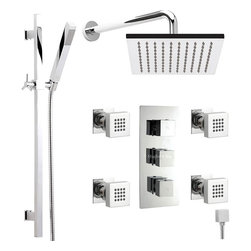 """Hudson Reed - Chrome Thermostatic Shower System With 7"""" Square Head Rail Kit Handset & 4 Jets - The Hudson Reed Thermostatic Triple Shower Valve (3 Outlet) features square controls for fingertip control. Constructed from brass and with modern ceramic disc technology, this chrome finish minimalist shower valve supplies water to either the fixed shower head, handshower or 4 body jets. Safety comes as standard with a pre-set maximum temperature and an anti-scald device. It is possible to use the shower head simultaneously with a handset or body jets, but this may reduce the flow of water to both functions."""