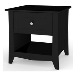 """Nexera - Tuxedo End Table in Black - The new Tuxedo Collection from Nexera proposes refined and sleek looking pieces for your living room, entertainment area, hall way and more. Its unique 58"""" open concept TV Stand fits most Center Channel components while its complete line of tables and storage units will suit your needs for storage and functionality while still giving your house a rich contemporary look. The Tuxedo Collection features a rich Black Lacquer finish, tempered legs, glass doors and metal handles/glides.;Features: End table with 1 drawer and 1 open storage space;Functional end table with storage space;1 drawer on metal glides;Open storage space;Metal handles;Lacquer finish and construction details on top panel, drawer affront and on distinctive tapered legs;Collection: Tuxedo;Finish: Black ;Weight: 41 lbs.;Dimensions: 20""""W x 20""""D x 20.75""""H"""