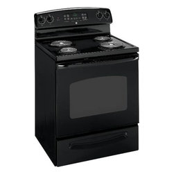 "GE - GE 30"" FREE STAND ELEC RANGE - Self-clean oven. Super-large oven capacity. Quickset III oven controls. Coil heating elements. Dual element bake. Big hearth window. 46-7/8"" H x 27-3/4"" D x 29-7/8"" W."