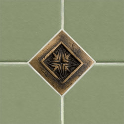 """2"""" Solid Bronze Wall Tile with Passion Flower Design - Burnished Bronze - Create an interesting focal point to your kitchen backsplash or bathroom wall with this charming 2"""" floral design accent tile. Constructed of solid bronze."""