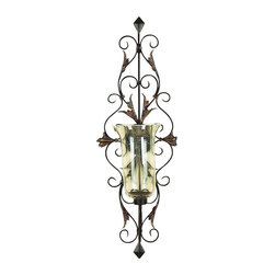 "Benzara - Metal Glass Candle Sconce - Delight the spaces with dancing lights. 91511 Metal Glass Candle SCONCE is an excellent anytime low priced decor upgrade option with great utility for everyone. Designed exclusively for limited edition, it is a unique affordable special occasion decoration upgrade. A very nice Christmas light decor appreciated by all.; Material: Rust free premium grade metal alloy sculptured uniquely as wall decor item with a glass lamp; Color: Brown; Wall mountable; Perfect anytime impressive gift; Exhibits passion for art; Makes the environment exciting; Dimensions: 21.50""H x 39""W x 14.50"