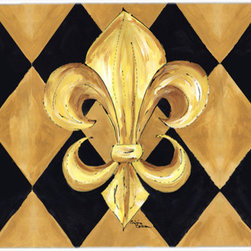 Caroline's Treasures - Black And Gold Fleur De Lis New Orleans Glass Cutting Board Large Size - Large Cutting Board .. . Made of tempered glass, these unique cutting boards are some of your favorite artists prints. 15 inches high and 12 inches long, they will beautify and protect your counter top. Heat resistant, non skid feet, and virtually unbreakable!