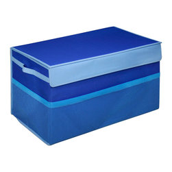 Great Useful Stuff - Kids Collapsible Toy Box , Blue, Large - There are enough heavy things in life, toy chests shouldn't be one of them. Kids don't need to lug around heavy wooden toy boxes. Neither do Moms and Dads. These collapsible toy storage bins are light and easily portable. Yet, the Kangaroom Collapsible Toy Boxes are strong enough that you can jam-pack them with toys. And you won't be searching for those smaller toys at the bottom of the bin. These toy storage bins have see-through mesh side pockets for quick access to cards and crayons. Kangaroom Collapsible Toy Boxes are constructed with lightweight side handles for convenient carrying. Velcro tabs keep these toy storage bins sealed. And Kangaroom Collapsible Toy Boxes are stackable - two small collapsible toy storage bins stack on top of one large bin. The Kangaroom Collapsible Toy Boxes fold flat. Keep this collapsible toy storage out of sight when not in use. Now, if only these toy storage bins would pick up the toys for you!