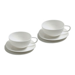 """Alessi Coffee and Tea - Alessi Coffee and Tea Fruit Basket Teacup Set - Set of two teacups in bone china, with saucers. A distillation of the design achievement of 2003's """"Tea & Coffee Towers"""" project, these cups make the results accessible to the wider coffee-drinking public. The designers of each Alessi limited edition coffee & tea service have been asked to design a simple coffee cup, one that would exhibit the essence of the project. Manufactured by Alessi.Designed in 2007."""