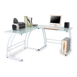 """LumiSource - Double Bit Computer Desk / Workstation - Give your home office a modern look with the Gamma computer workstation. The workstation is constructed of safety tempered glass with a sturdy metal frame. Glass computer desk is sure to enhance any office decor Provides plenty of stylish workspace. Features: -Computer Desk.-Sturdy metal frame.-Safety tempered glass.-Enough room for a mouse and pad.-Connector Sections 6'' at smallest section.-Desk Type: Workstation.-Base Finish: White.-Gloss Finish: No.-UV Finish: No.-Top Material: Tempered Glass.-Base Material: Metal.-Hardware Material: Metal.-Number of Items Included: 1.-Non-Toxic: Yes.-Water Resistant: No.-Stain Resistant: No.-Heat Resistant: No.-Style: Modern.-Design: Standard.-Distressed: No.-Eco-Friendly: No.-Cable Management: No.-Keyboard Tray: No.-Height Adjustable: No.-Drawers Included: No.-Exterior Shelving: No.-Cabinets Included: No.-Ergonomic Design: Yes.-Handedness: Both.-Scratch Resistant: No.-Chair Included: No.-Legs Included: Yes -Leg Material: Metal.-Leg Glides: No..-Casters Included: No.-Hutch Included: No.-Treadmill Included: No.-Cork Back Panel: No.-Modesty Panel: No.-CPU Storage: No.-Built In Outlet: No.-Built In Surge Protector: No.-Light Included: No.-Modular: No.-Lifestage: Tween - Adult.-Application: Home Office, Professional, Dormroom.-Commercial Use: Yes.-Product Care: Wipe clean with a dry cloth, clean glass surface with glass cleaner.-Weight Capacity: 100 lbs.-Swatch Available: No.-Recycled Content: No.Specifications: -FSC Certified: No.-EPP Certified: No.-Green Guard Certified: No.-ANSI BIFMA Certified: No.-SCS Certified: No.-ADA Compliant: No.-FIRA Certified: No.-GSA Approved: No.Dimensions: -Overall Height - Top to Bottom: 30"""".-Overall Width - Side to Side: 70"""".-Overall Depth - Front to Back: 40"""".-Desk Return: No.-Credenza: No.-Bridge: No.-Cabinet: No.-Drawer: No.-Shelving: No.-Seat: No.-Desktop Height: 30"""".-Desktop Width - Side to Side: 70"""".-Desktop Depth - Front to Back: 40"""".-Hut"""