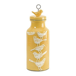 """Adelaide Small Script Birdy Jar with Lid - Towering bird silhouettes feature embossed script typography elements over a small yellow bodied lidded jar. (14.5""""H x 5.5""""D)"""