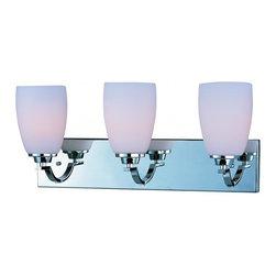 Joshua Marshal - Three Light Polished Chrome Satin White Glass Vanity - Three Light Polished Chrome Satin White Glass Vanity