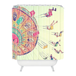 DENY Designs - Shannon Clark Dizzying Heights Shower Curtain - Who says bathrooms can't be fun? To get the most bang for your buck, start with an artistic, inventive shower curtain. We've got endless options that will really make your bathroom pop. Heck, your guests may start spending a little extra time in there because of it!