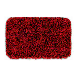 None - Quincy Super Shaggy Red Hot Washable 22x40 Bath Rug - Jazz up the bathroom, shower room, or spa with a bright note of color while adding comfort you can sink your toes into with the Quincy Super Shaggy bathroom collection. The red rug is created from soft, durable, machine-washable nylon.